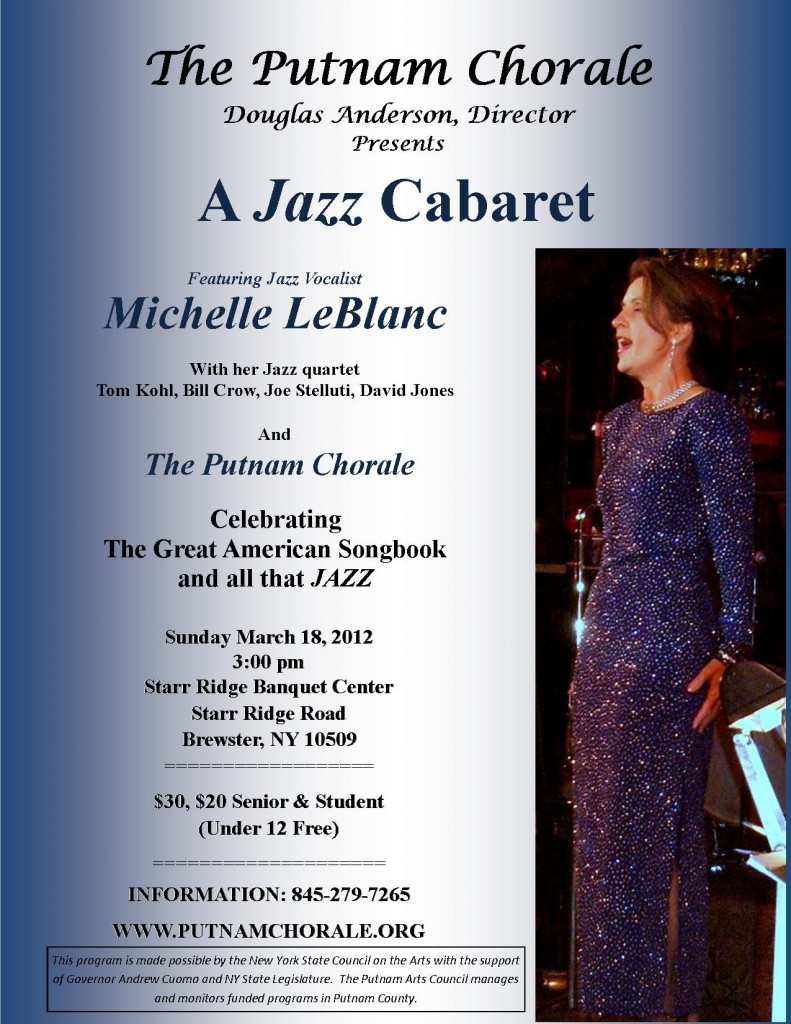 The Putnam Chorale proudly joins forces with local jazz artist MICHELLE LeBLANC